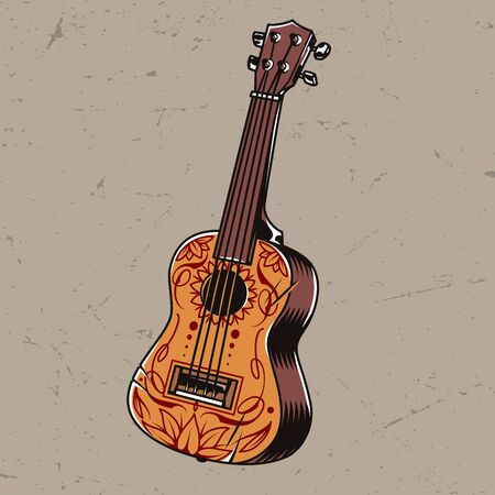 Colorful acoustic guitar concept in vintage style isolated vector illustration