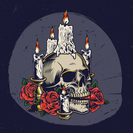 Dia De Los Muertos vintage template with roses burning candles on skull and in candlesticks isolated vector illustration Ilustracja