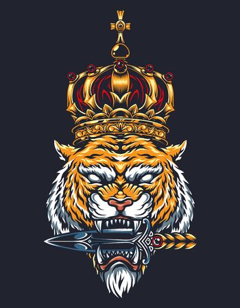 Colorful vintage tattoo concept with cruel tiger head in royal gold crown holding dagger with its teeth isolated vector illustration 向量圖像