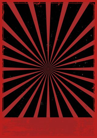 Vintage red frame template with radial lines on dark background vector illustration