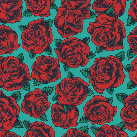 Vintage floral colorful seamless pattern with beautiful red roses vector illustration