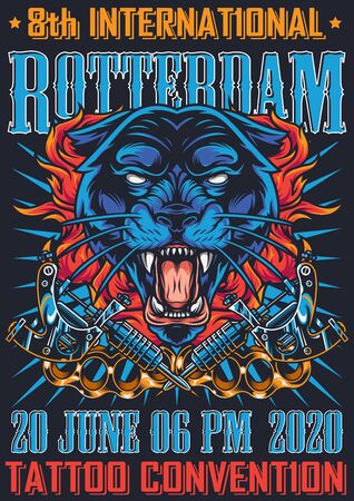 Vintage Tattoo Fest in Rotterdam Poster mit wütenden schwarzen Pantherkopf Schlagringen und Tattoo Maschinen Vektor-Illustration