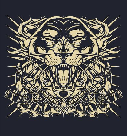 Vintage monochrome tattoo concept with aggressive black panther head tattoo machines brass knuckles isolated vector illustration
