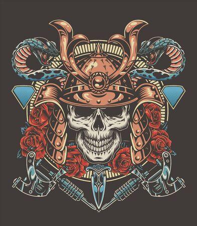 Buntes Tattoo-Vintage-Konzept mit Samurai-Krieger-Schädel-Schlangen-Dolch-Rosen-Tattoo-Maschinen isolierte Vektorillustration