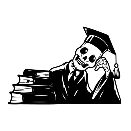 Vintage college monochrome concept with skeleton in mantle and graduation cap sitting near books isolated vector illustration