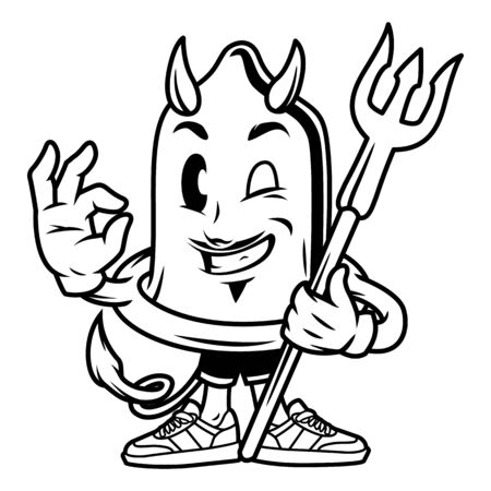 Vintage funny condom devil character showing okay hand sign with trident isolated vector illustration