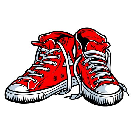 Colorful red trendy sneakers concept in vintage style isolated vector illustration Reklamní fotografie - 133384231