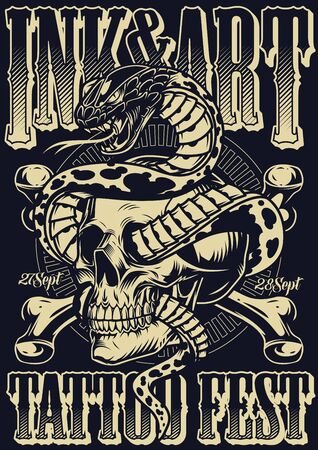 Ink And Art tattoo fest poster with crossbones and snake entwined with skull in vintage monochrome style vector illustration