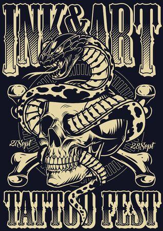 Ink And Art Tattoo Festplakat mit gekreuzten Knochen und Schlange, die mit Schädel in Vintage-Monochrom-Stil-Vektorillustration verflochten ist