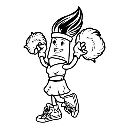 Vintage monochrome brush cheerleader character with pom-poms isolated vector illustration