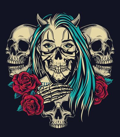 Colorful tattoo vintage template with horned girl in spooky mask red roses and skeleton hand strokes skull on dark background isolated vector illustration