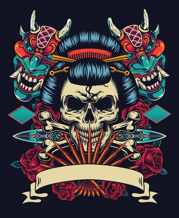Vintage japanese tattoo style colorful template with blank ribbon geisha skull daggers devil masks roses and crossbones isolated vector illustration Illustration