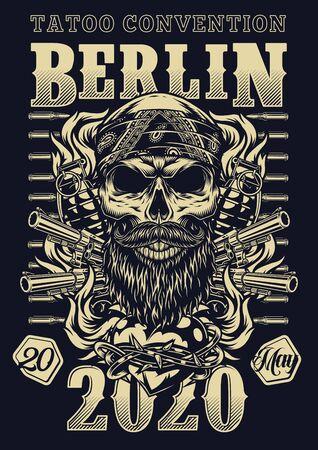 Convención de tatuaje en cartel vintage de Berlín con cráneo barbudo y bigotudo en bandana balas pistolas granadas corazón ardiente en alambre de púas en la ilustración de vector de estilo monocromo