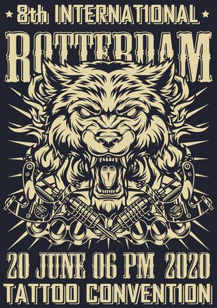 Tattoo fest in Rotterdam monochrome poster with cruel angry wolf head crossed tattoo machines brass knuckles rays in vintage style vector illustration