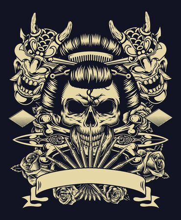 Vintage tattoo monochrome concept with geisha skull devil masks daggers crossbones and roses isolated vector illustration