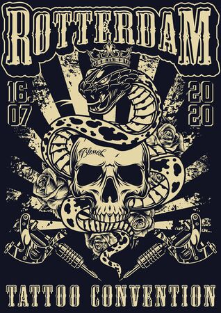 Rotterdam tattoo fest vintage monochrome poster with tattoo machines roses and snake in royal crown entwined around skull vector illustration