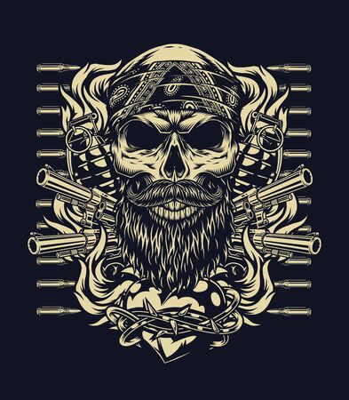 Vintage monochrome tattoo concept with bearded and mustached skull in bandana weapon bullets and fiery heart in barbed wire isolated vector illustration