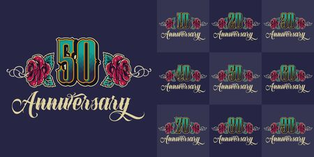 Vintage anniversary festive colorful emblems set with beautiful roses and different celebration years isolated vector illustration