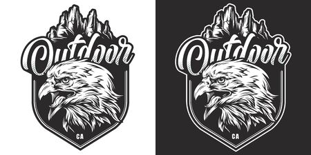 Vintage monochrome wild animal badge with angry eagle head on mountains landscape isolated vector illustration