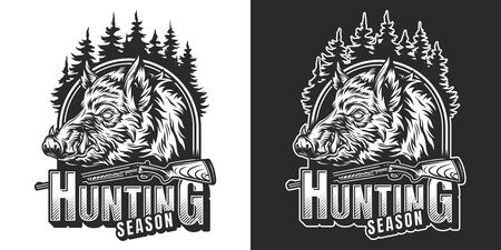 Monochrome hunting season vintage print with wild boar head and shotgun isolated vector illustration