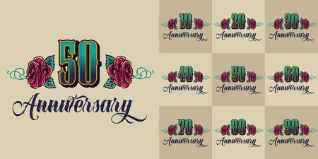 Colorful anniversary vintage labels with ten twenty thirty forty fifty sixty seventy eighty ninety years celebration isolated vector illustration