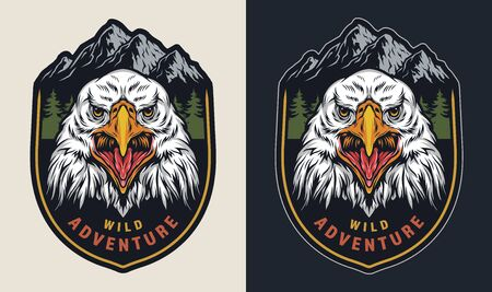 Vintage wild adventure colorful emblem with strong cruel eagle head on forest and mountains landscape isolated vector illustration  イラスト・ベクター素材