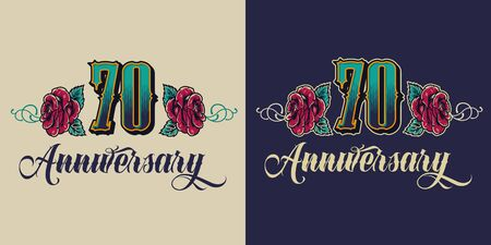 Seventy years anniversary celebrating logo in vintage style isolated vector illustration