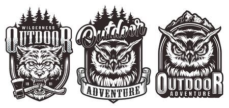 Vintage outdoor adventure monochrome labels with nature landscapes serious owls heads and ferocious wolf head with broken ax in its mouth isolated vector illustration  イラスト・ベクター素材