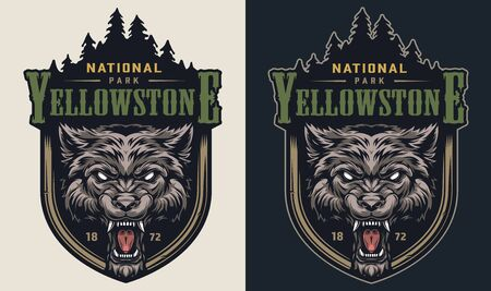 Colorful national park vintage logotype with angry cruel wolf head and forest silhouette isolated vector illustration