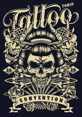 Monochrome tattoo convention vintage template with geisha skull devil masks crossbones medieval daggers and beautiful roses vector illustration