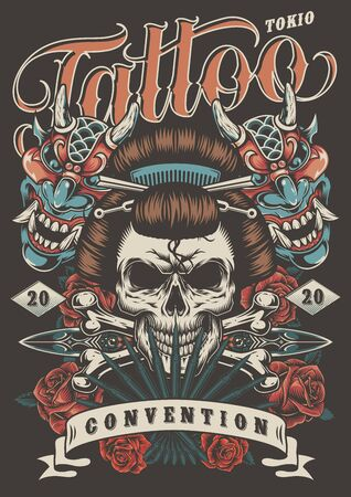Tattoo convention in Tokio colorful poster with geisha skull daggers crossbones roses and demon masks in vintage style vector illustration