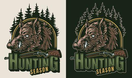 Logo colorato da caccia vintage con alberi di armi e testa di cinghiale seria isolata illustrazione vettoriale Logo