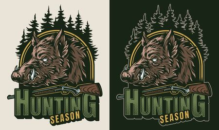 Vintage hunting colorful logo with weapon trees and serious wild boar head isolated vector illustration Illustration