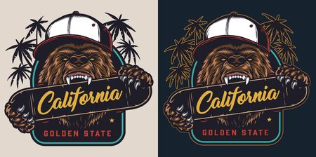 Colorful skateboarding badge in vintage style with cruel angry bear in baseball cap bites skateboard isolated vector illustration 写真素材 - 134077316