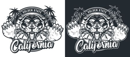 Monochrome skateboarding summer print with ferocious black panther head palm trees and animal claws holding skateboard in vintage style isolated vector illustration