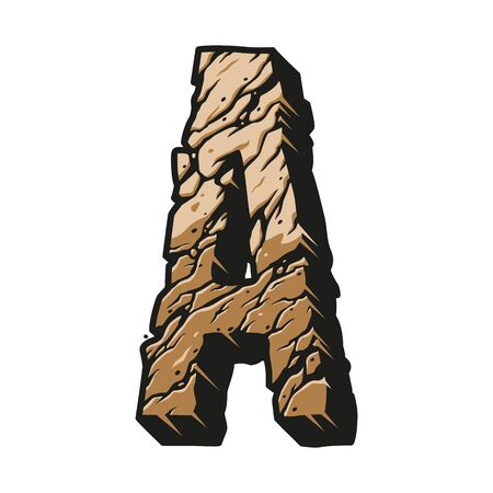 Vintage letter A desert style concept with cracked earth texture isolated vector illustration