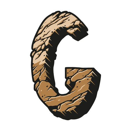 Alphabet letter G desert design concept with cracked dry earth texture in vintage style isolated vector illustration