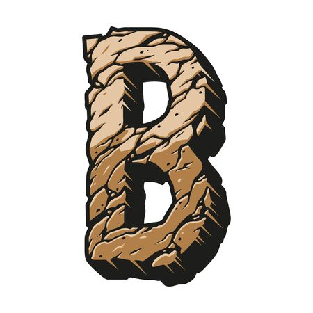 Colorful letter B vintage concept with cracked dry sand texture isolated vector illustration Çizim
