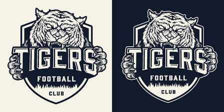 Monochrome soccer team badge with angry tiger holding inscription in vintage style isolated vector illustration Illusztráció