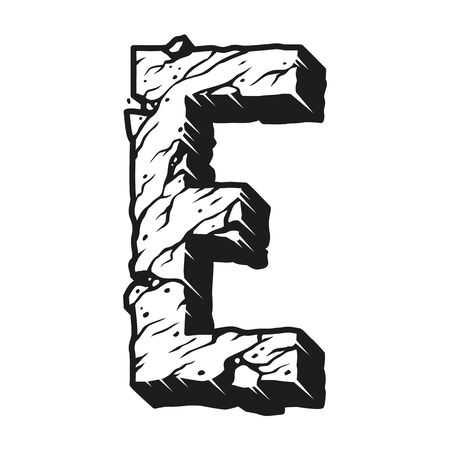 Monochrome vintage alphabet letter E template with cracked desert ground texture isolated vector illustration