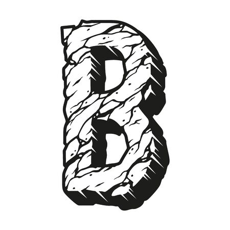 Buchstabe B Wüste Vintage-Design-Vorlage mit rissiger Sandbeschaffenheit im monochromen Stil isolierte Vektorillustration Vektorgrafik