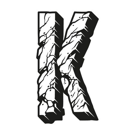 Vintage monochrome desert style letter K with cracked dry land texture isolated vector illustration Foto de archivo - 135388269