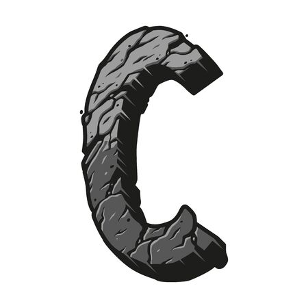 Vintage letter C template with cracked desert ground texture on white background isolated vector illustration Foto de archivo - 135385798