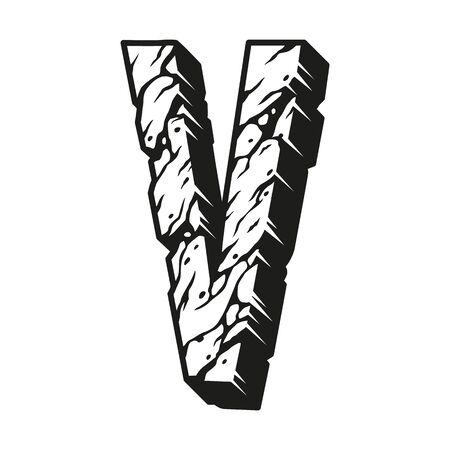Desert design letter V concept in vintage monochrome style isolated vector illustration