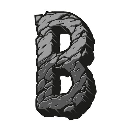 Gray letter B desert design concept with cracked sand surface in vintage style isolated vector illustration