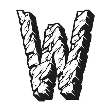 Vintage letter W monochrome template with cracked desert sand surface isolated vector illustration