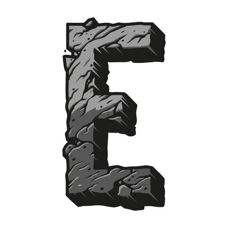 Vintage letter E gray concept with cracked desert sand texture on white background isolated vector illustration