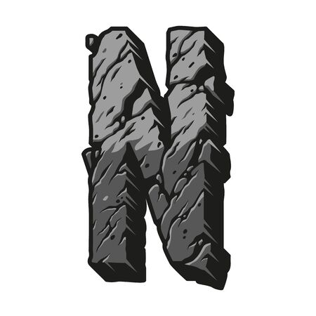 Vintage letter N desert design concept with cracked dry land surface in gray colors isolated vector illustration Çizim