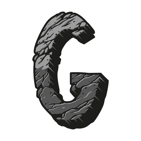 Vintage letter G desert design template with cracked sand texture in gray colors isolated vector illustration