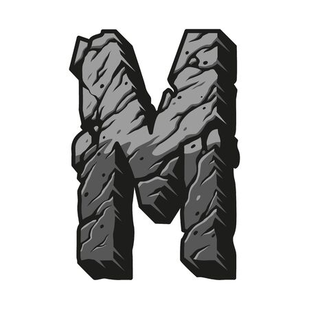 Vintage gray letter M concept with cracked sand texture isolated vector illustration